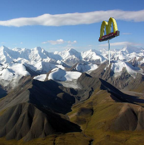 A mock McDonald's sign in Kyrgyz mountains