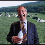 Nigel Farage clutches his white milk tightly
