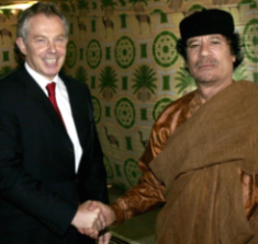 Gaddafi with inhumane colleague, Tony Blair