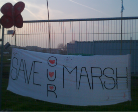 A 'Save Our Marsh' banner on Leyton Marshes