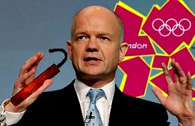 William Hague holding dynamite