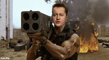 David Cameron with a rocket launcher