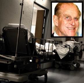 A trolley in a hospital corridor, and Prince Philip [inset]