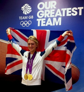 Double Olympic gold medallist Laura Trott celebrates
