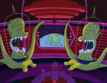 Kang and Kodos observe Earth in 'The Simpsons'