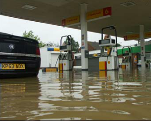 A flooded Shell garage