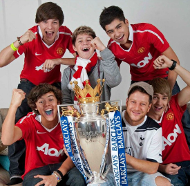 One Direction with Barclays Premier League trophy
