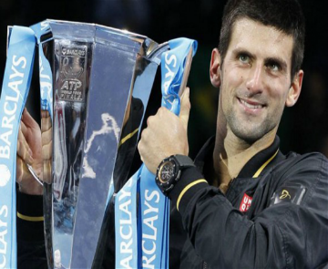 Novak Djokovic lifts Barclays-sponsored trophy