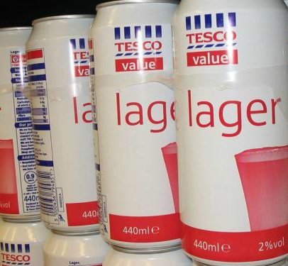 Cans of Tesco lager