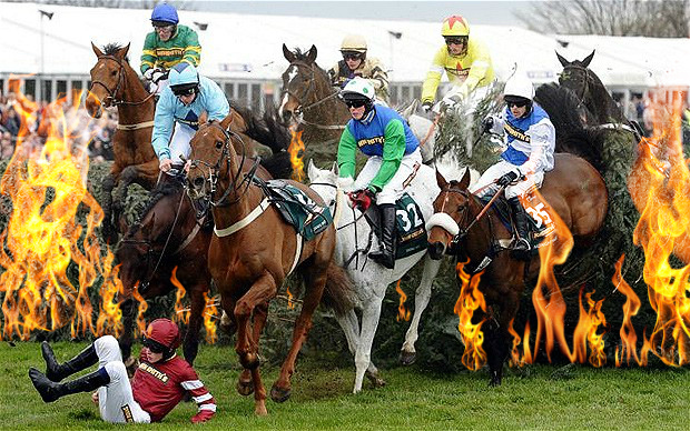 Horses dodge flames in the Grand Casualty