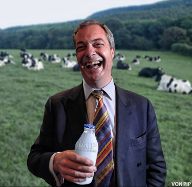 Nigel Farage holding his beloved milk