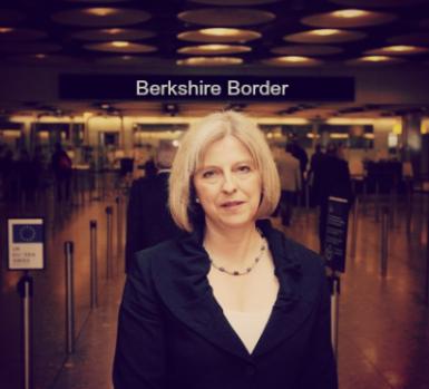 Theresa May at the Berkshire border