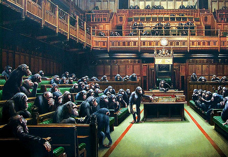 Chimps in Parliament, by Banksy