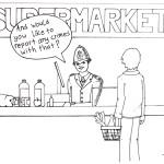 Copper serving supermarket shopper