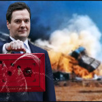 Chancellor George Osborne looks away from explosion
